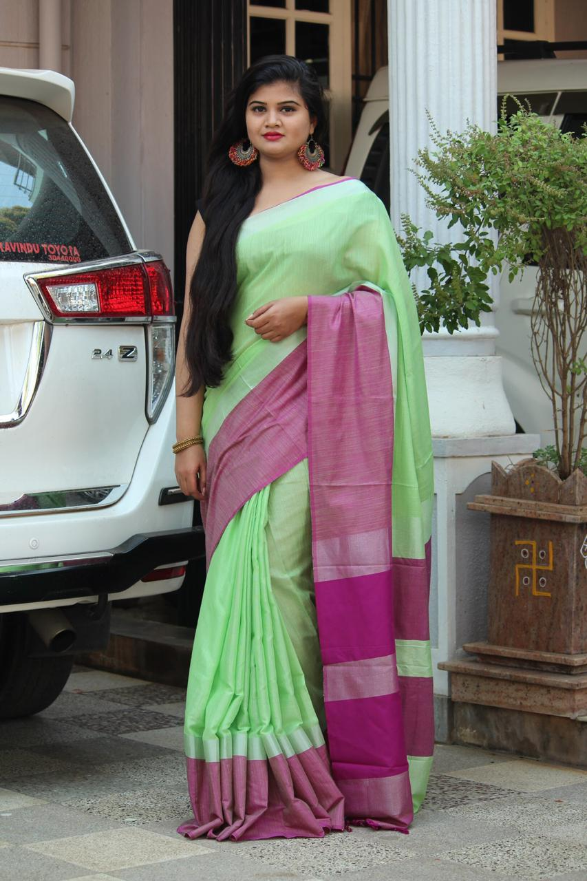 Linen saree with Blouse - linen silk sarees online (Light Green) dvz000025