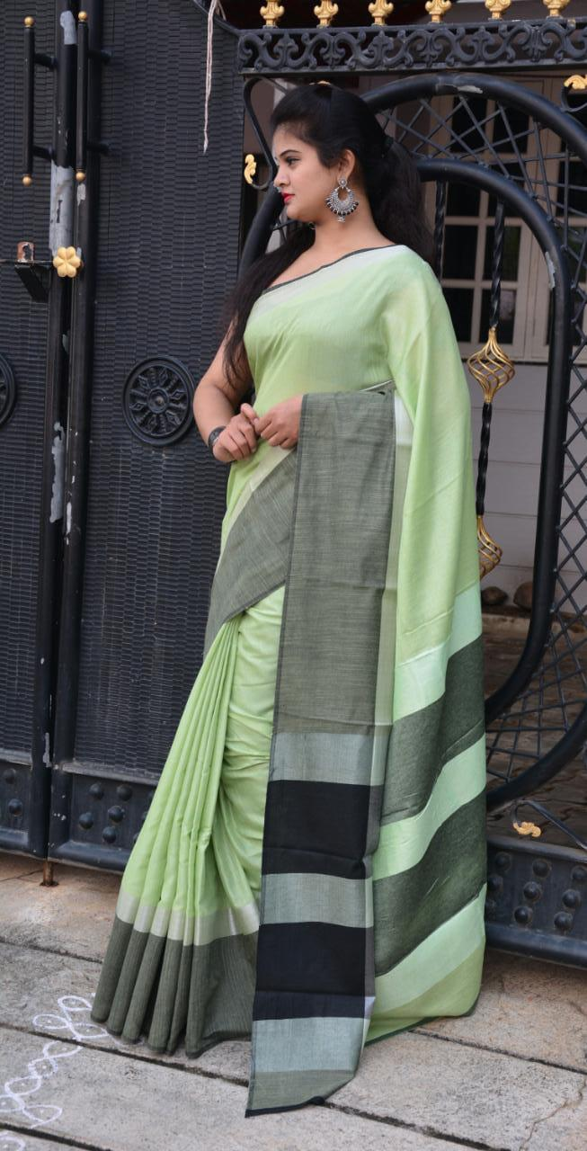 Linen saree with Blouse - linen silk sarees online (Light Green) dvz000028