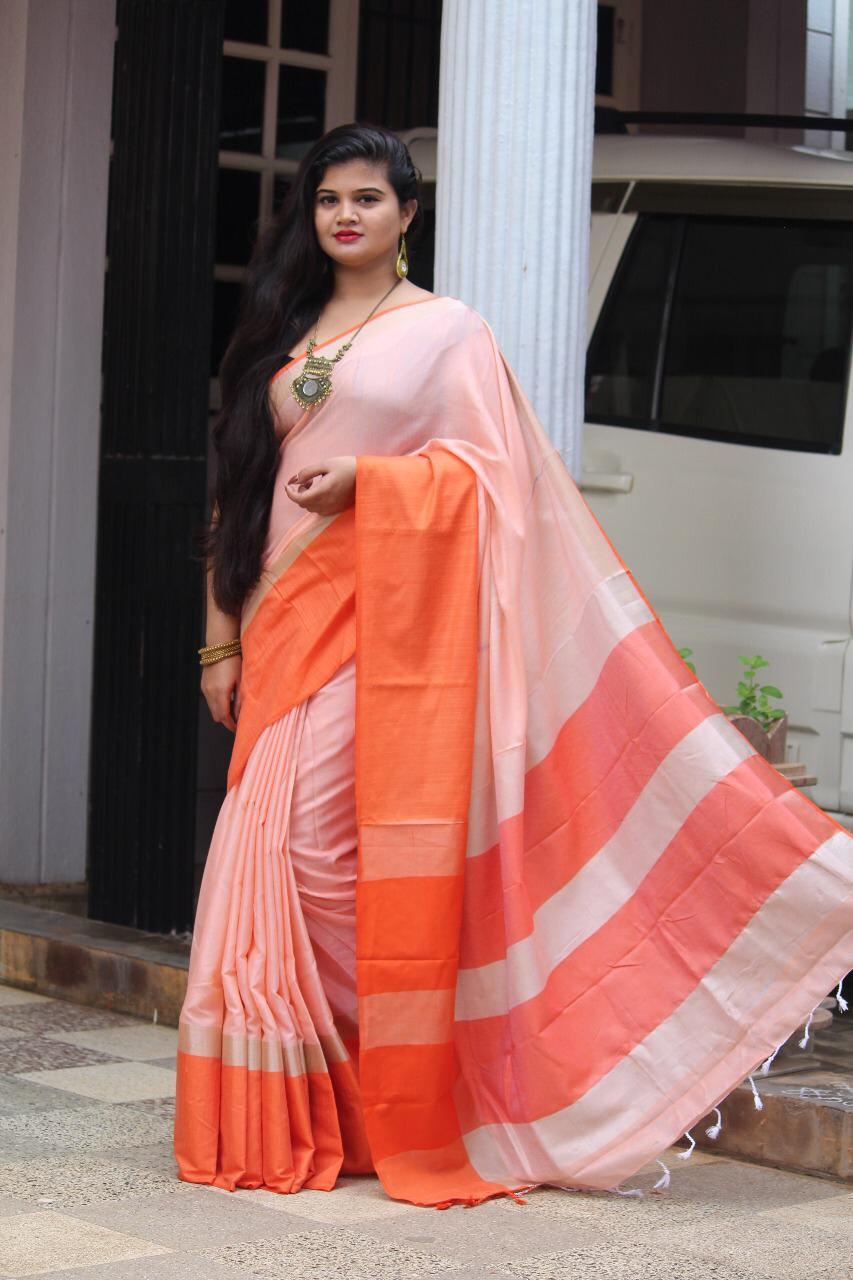 Linen saree with Blouse - linen silk sarees online (Orange) - dvz000020