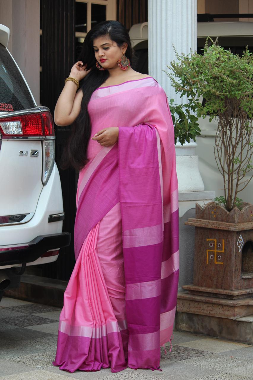 Linen saree with Blouse - linen silk sarees online (Pink) dvz000021