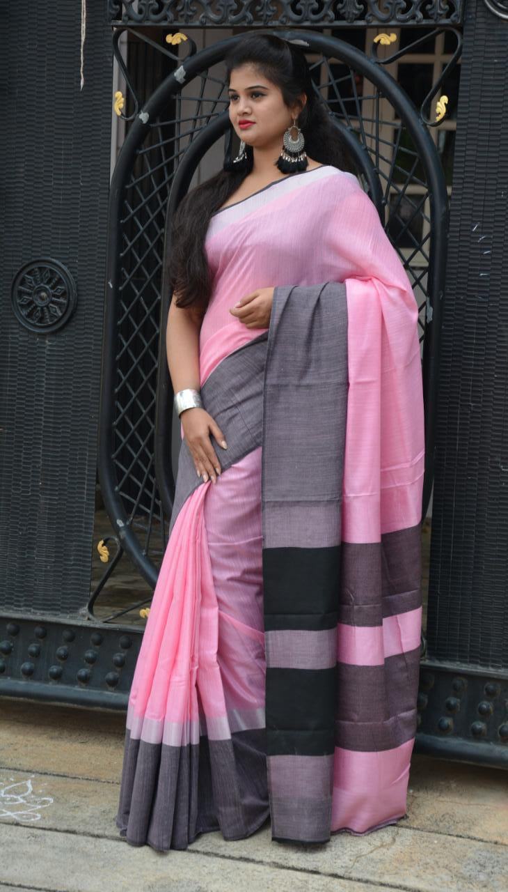 Linen saree with Blouse - linen silk sarees online (Pink) dvz000022