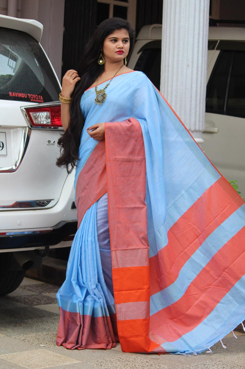 Linen saree with Blouse - linen silk sarees online (Sky Blue ) dvz000019