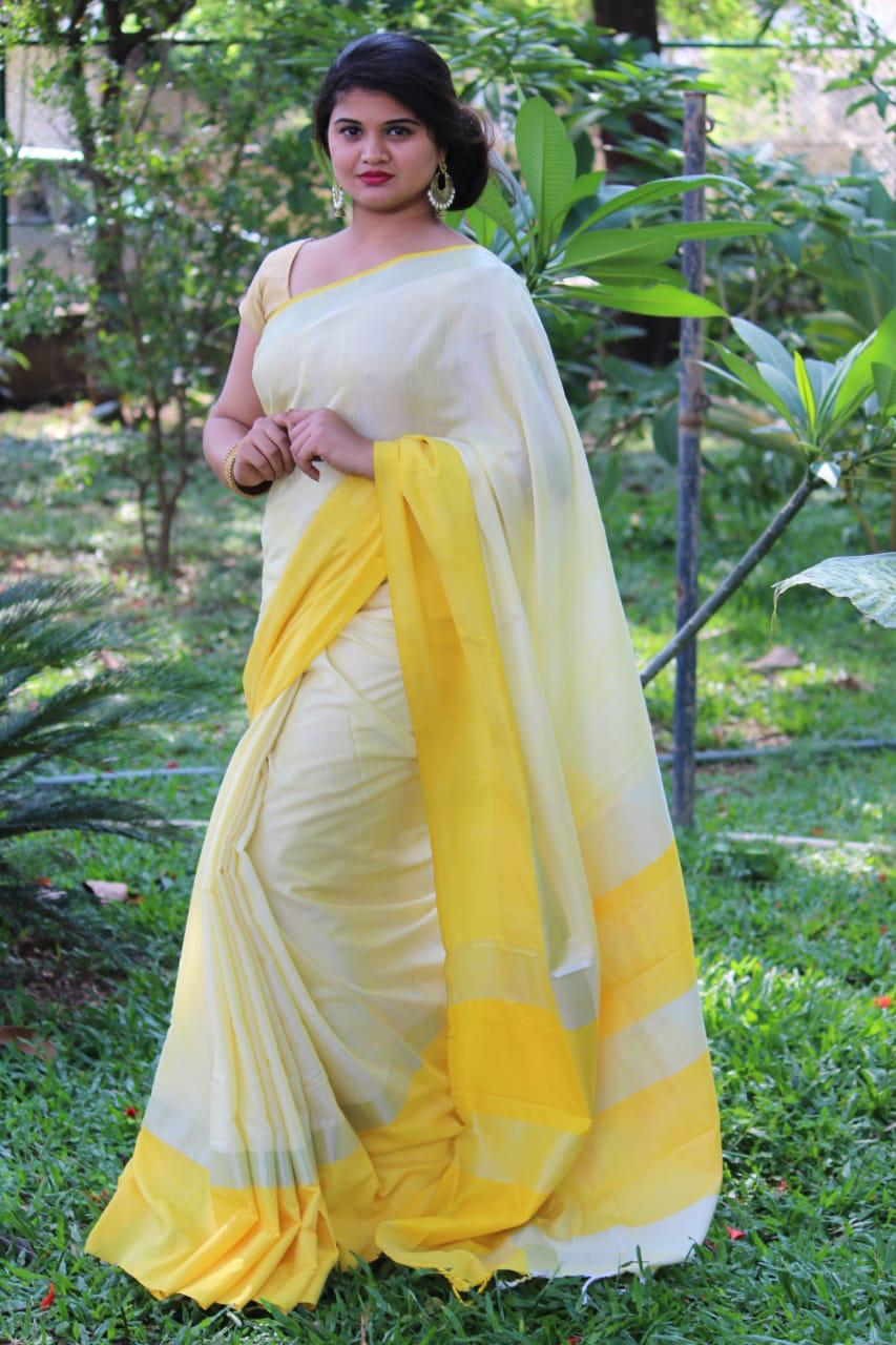 Linen saree with Blouse - linen silk sarees online (Yellow) dvz000023