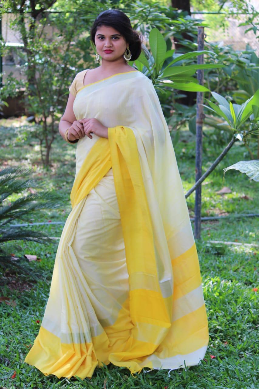Linen saree with Blouse - linen silk sarees online (Yellow) dvz000023