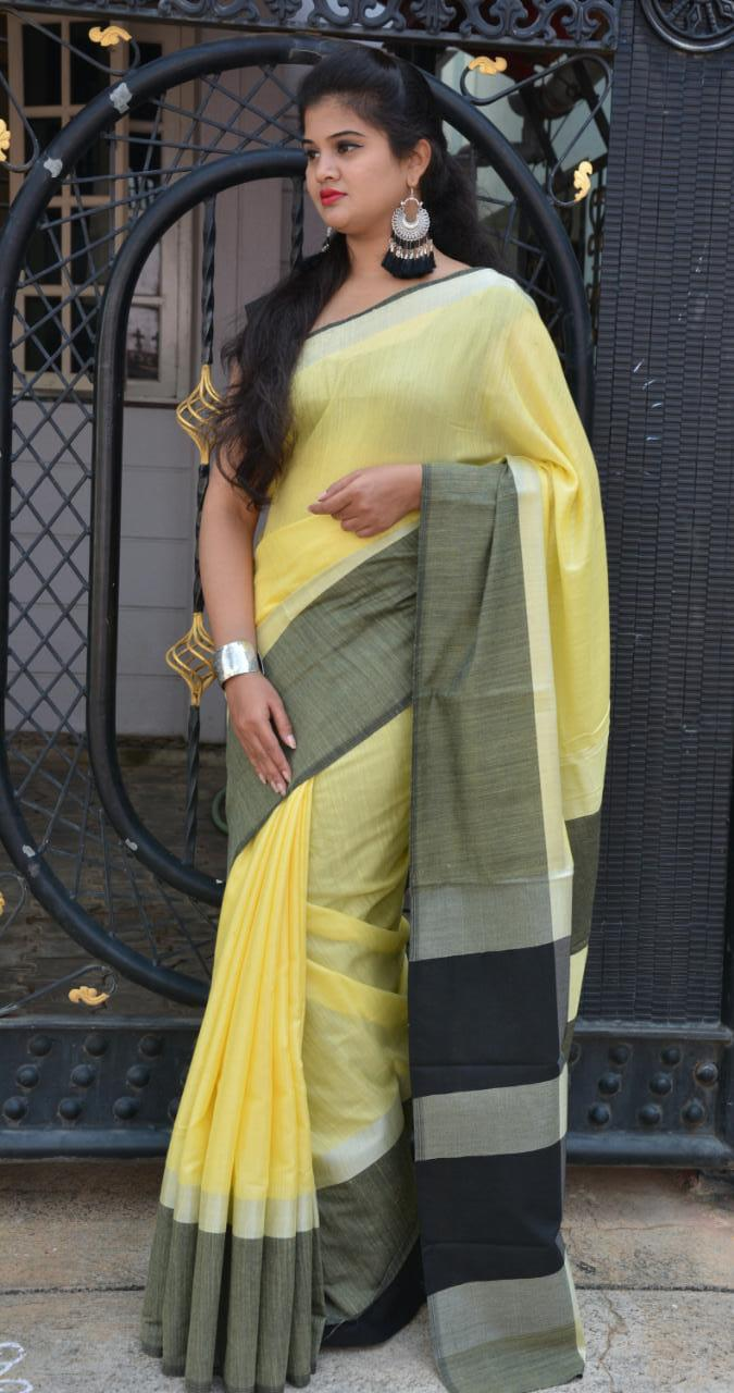 Linen saree with Blouse - linen silk sarees online (Yellow) dvz000024