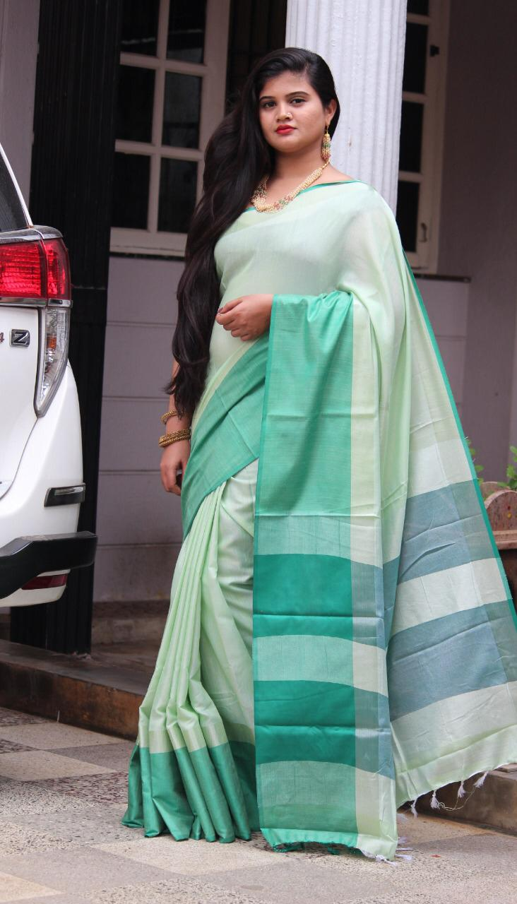 Linen saree with Blouse - linen silk sarees online (green ) dvz000018