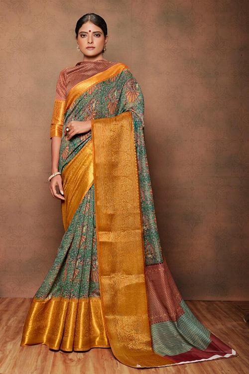 Mahashwari kanchi pattu saree With Heavy jecqaurd border dvz0001084