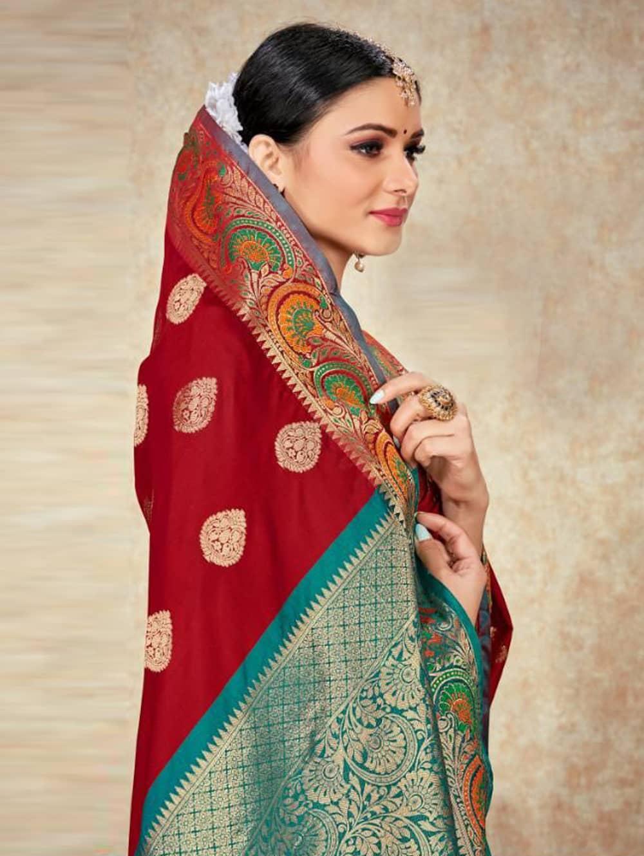 Maroon Soft Silk Weaving saree with Designer Border & Rich Pallu dvz0001803-2