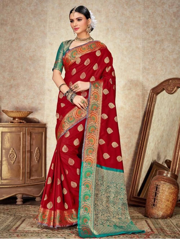 Maroon Soft Silk Weaving saree with Designer Border & Rich Pallu dvz0001803