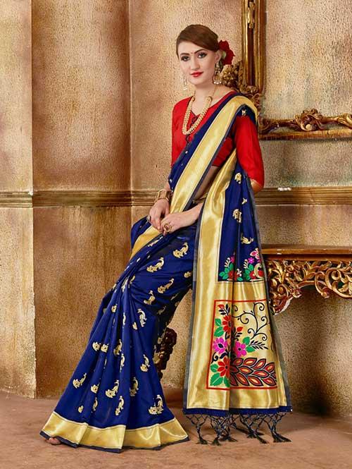 Navy Blue Banarasi silk