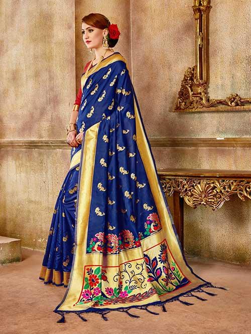 Navy Blue Banarasi silk woven saree - Banarasi silk saree online