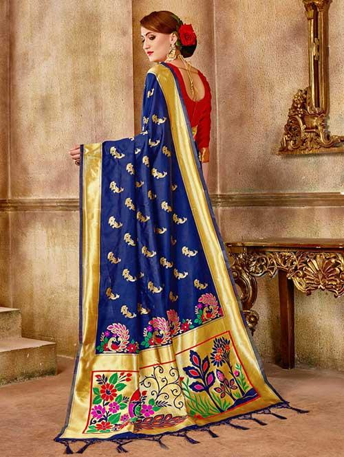 Navy Blue Banarasi silk woven saree online