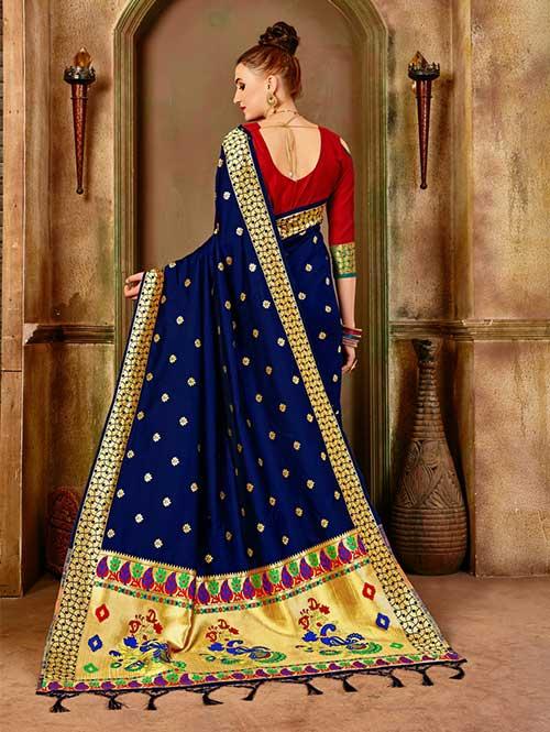Navy Blue Banarasi silk woven saree with blouse piece