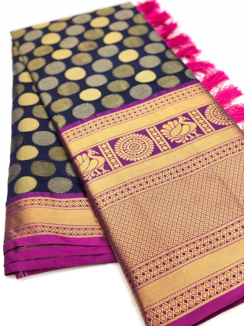 Navy Blue Designer Kanchipuram Silk Saree online india dvz0001725