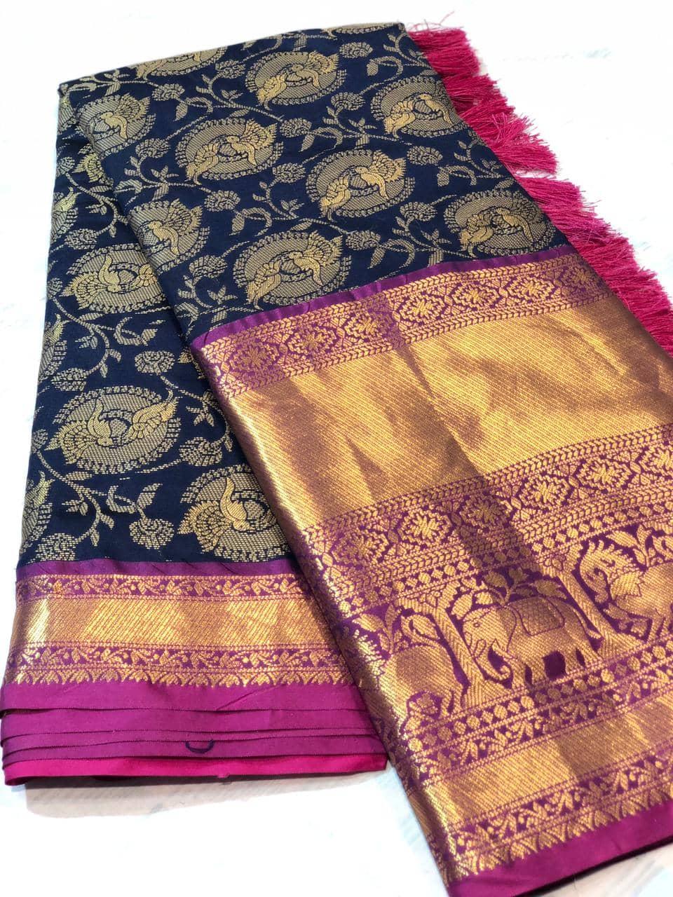 Navy Blue kanchipuram silk sarees online shopping dvz0001925