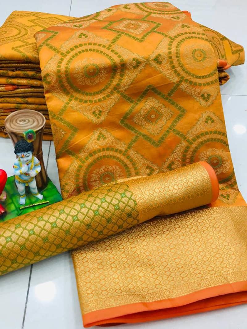 New Design Soft Banarasi Patola Saree in Mustard dvz0002568