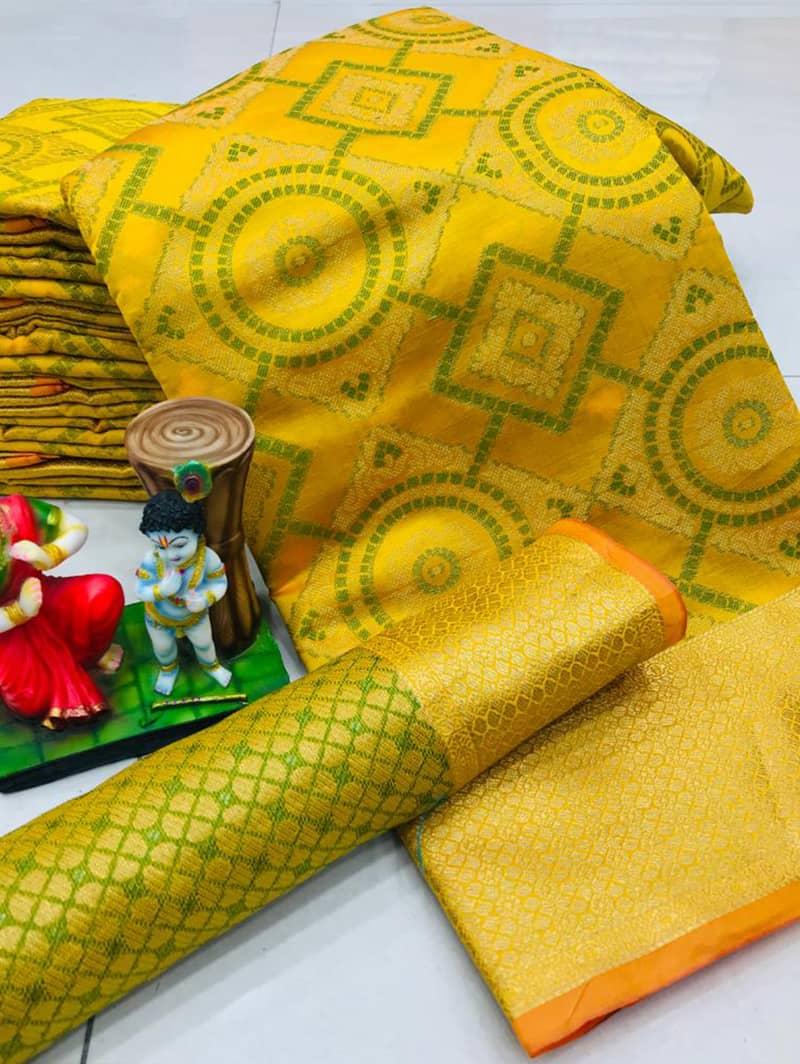 New Design Soft Banarasi Patola Saree in Yellow dvz0002567