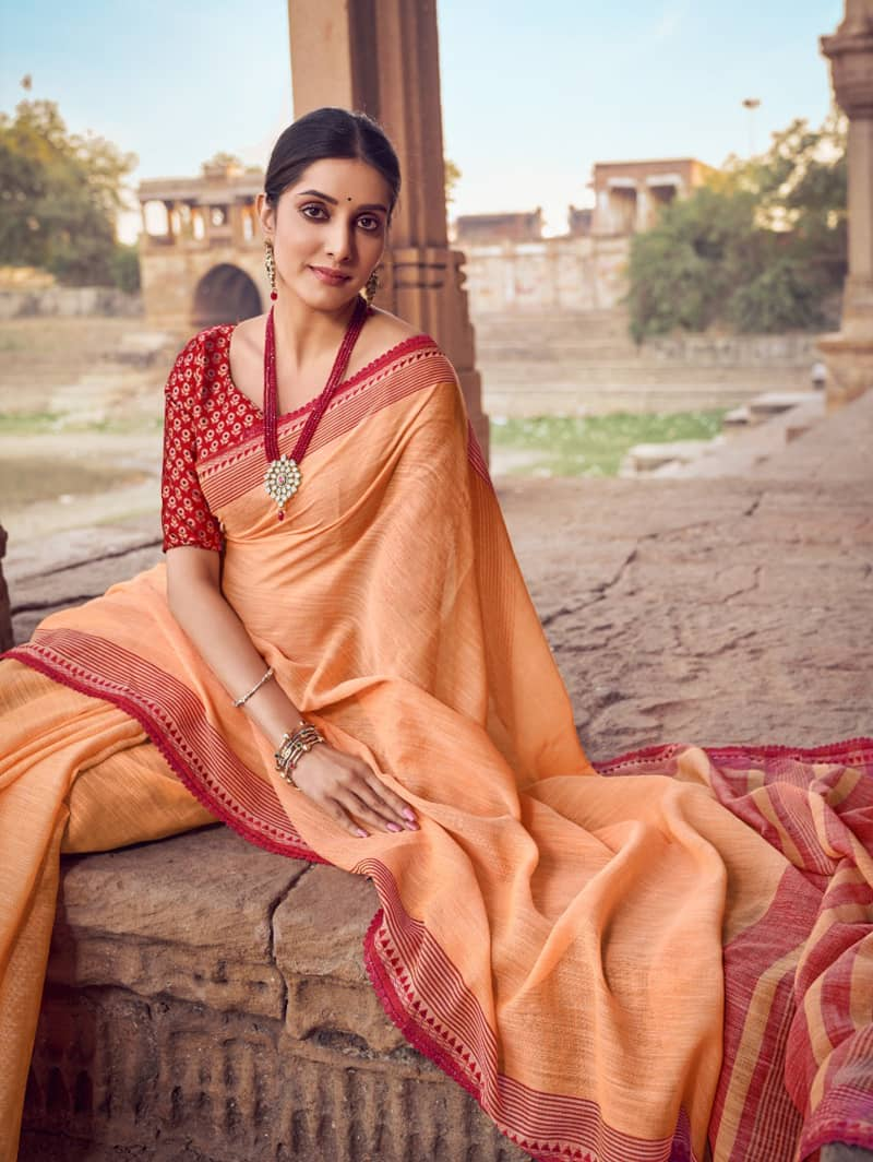 Orange Branded Soft Linen silk Traditional saree dvz0001788-2