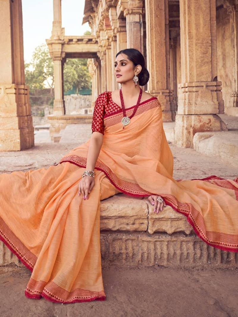 Orange Branded Soft Linen silk Traditional saree dvz0001788-3