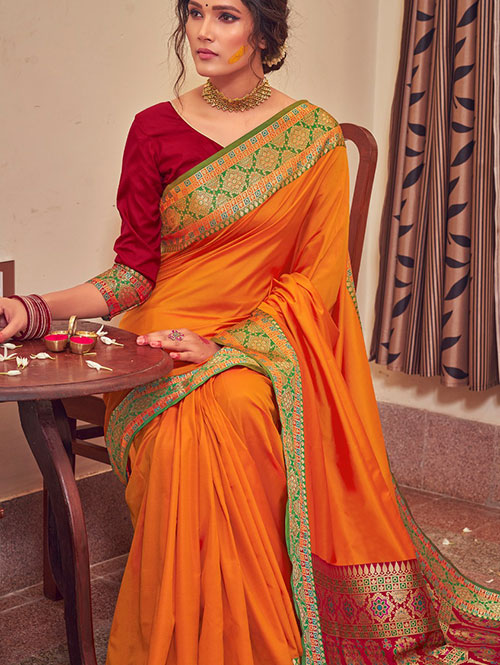 Orange Colour Soft silk Saree online india dvz0001468 dvanza