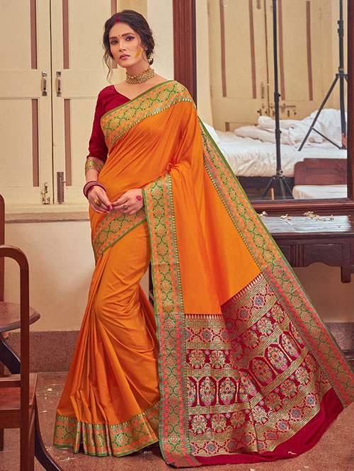 Orange Colour Soft silk Saree online india dvz0001468