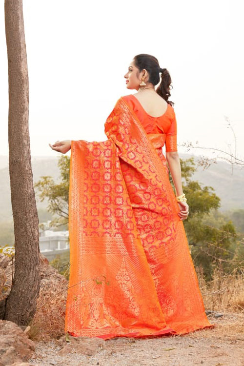 Orange Coloured Soft silk saree dvz0001035