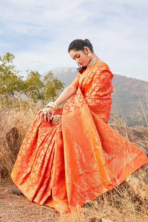 Orange Coloured saree dvz0001035