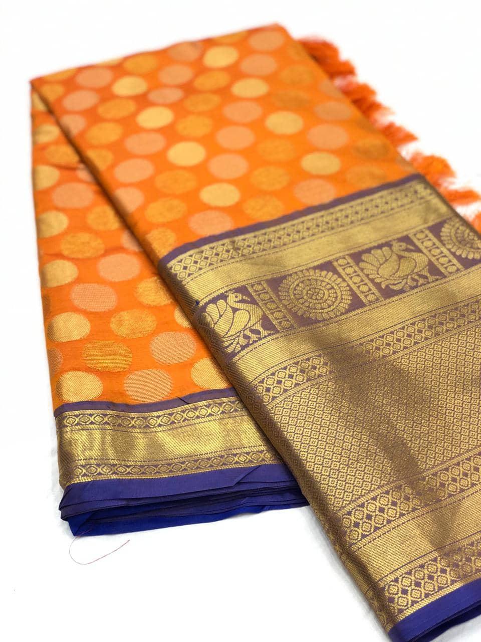 Orange Designer Kanchipuram Silk Saree online india dvz0001726
