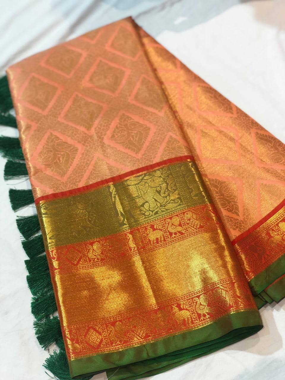 Orange Kanchipuram Silk saree dvz0001626