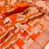Orange Lichi Silk Silver checks woven saree dvz0002186