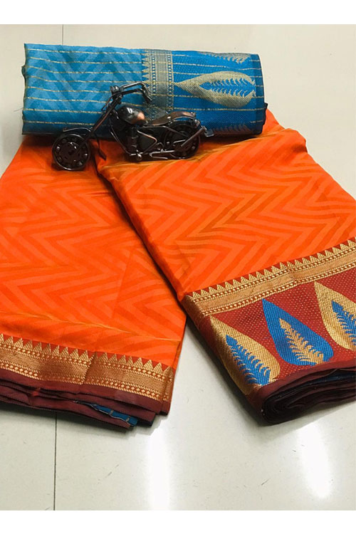 Orange Soft Cotton saree with weaving border and weaving blouse dvz0001137