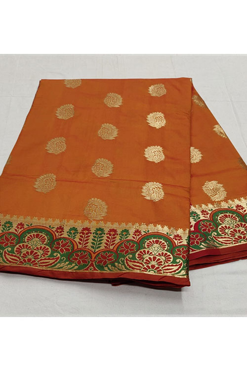 Orange Soft Silk Designer Border and Rich Pallu saree dvz000097-3