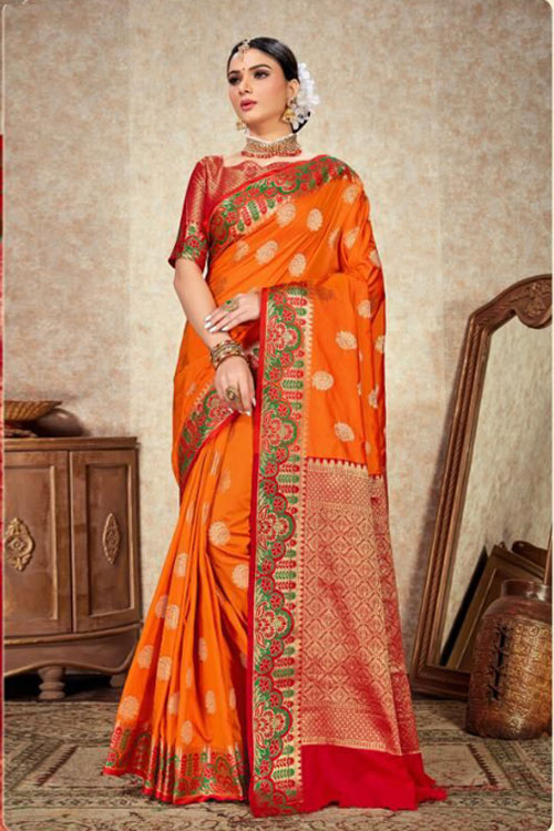 Orange Soft Silk Designer Border and Rich Pallu saree dvz000097