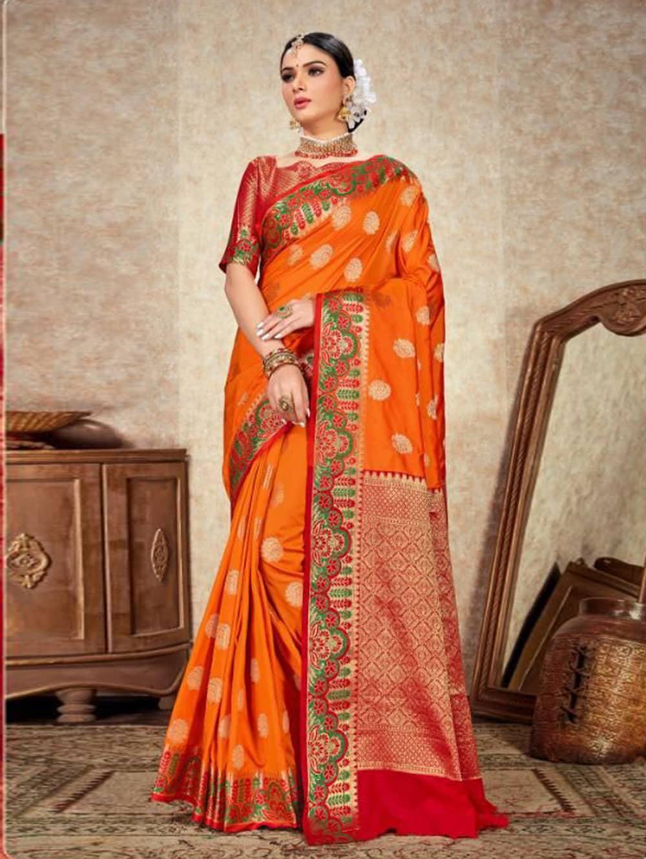 Orange Soft Silk Weaving saree with Designer Border & Rich Pallu dvz0001800
