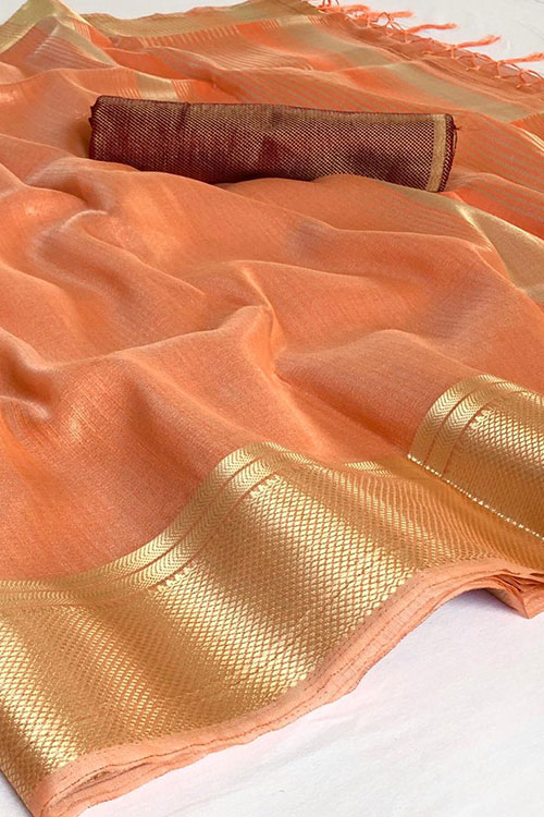 Orange Soft Tissue Zari With Doube Blouse Online dvz0001122