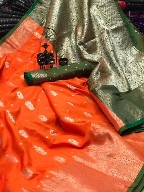 Orange Soft & pure Lichi silk with beautiful zari weaving Border saree dvz0001206