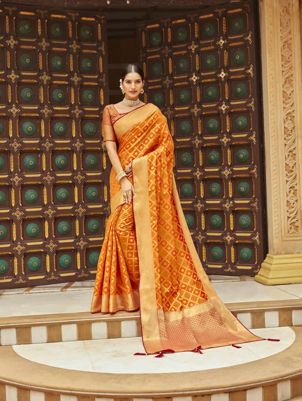 Orange Soft silk Weaving Pallu work party wear saree dvz0002669
