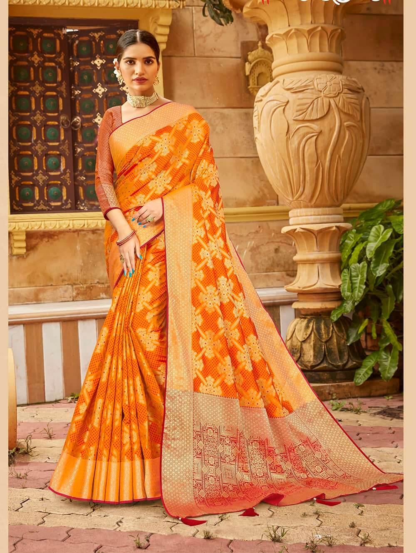 Orange Soft silk Weaving Pallu work saree dvz0002668