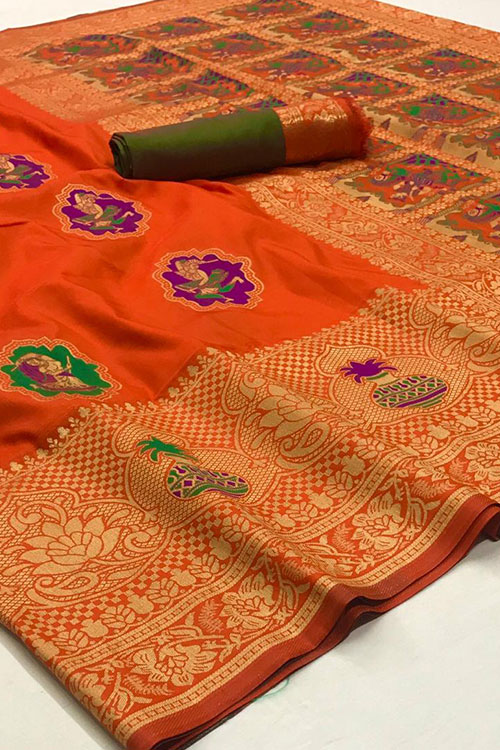 Orange Soft silk saree - silk sarees online india - dvz0001112