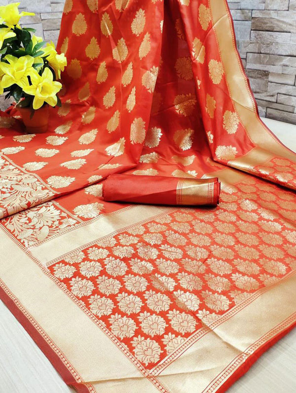 Orange coloured soft silk saree dvz0001340