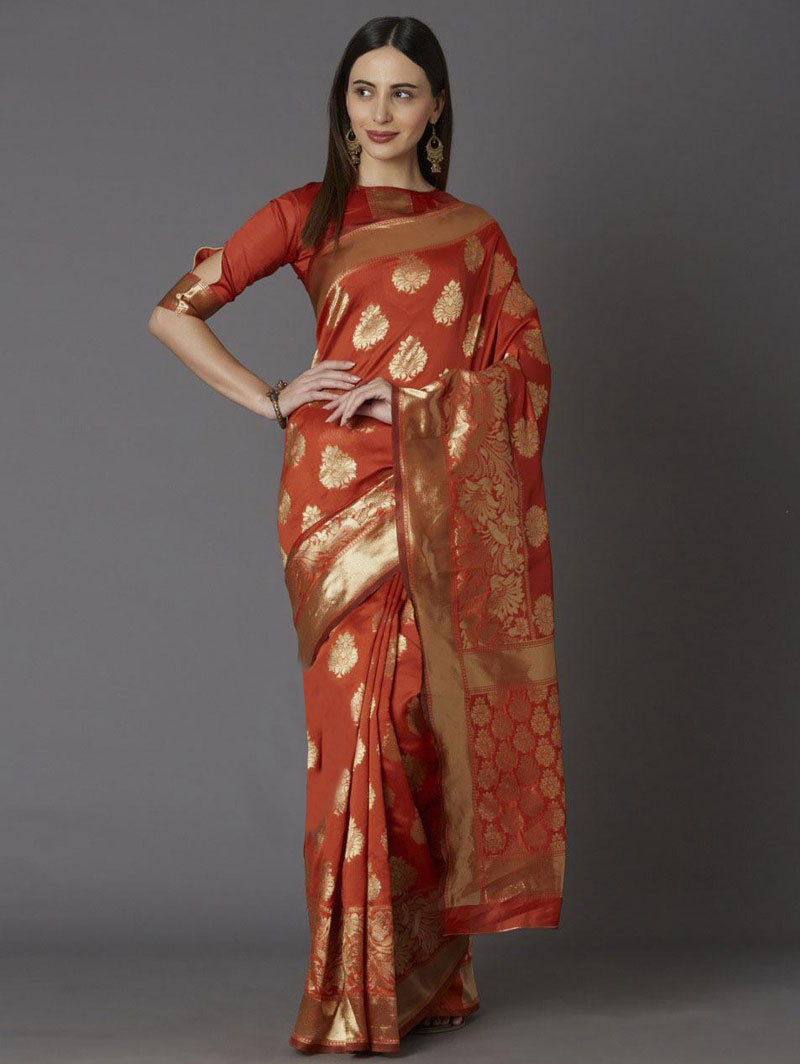 Orange coloured soft silk saree online shopping dvz0001340