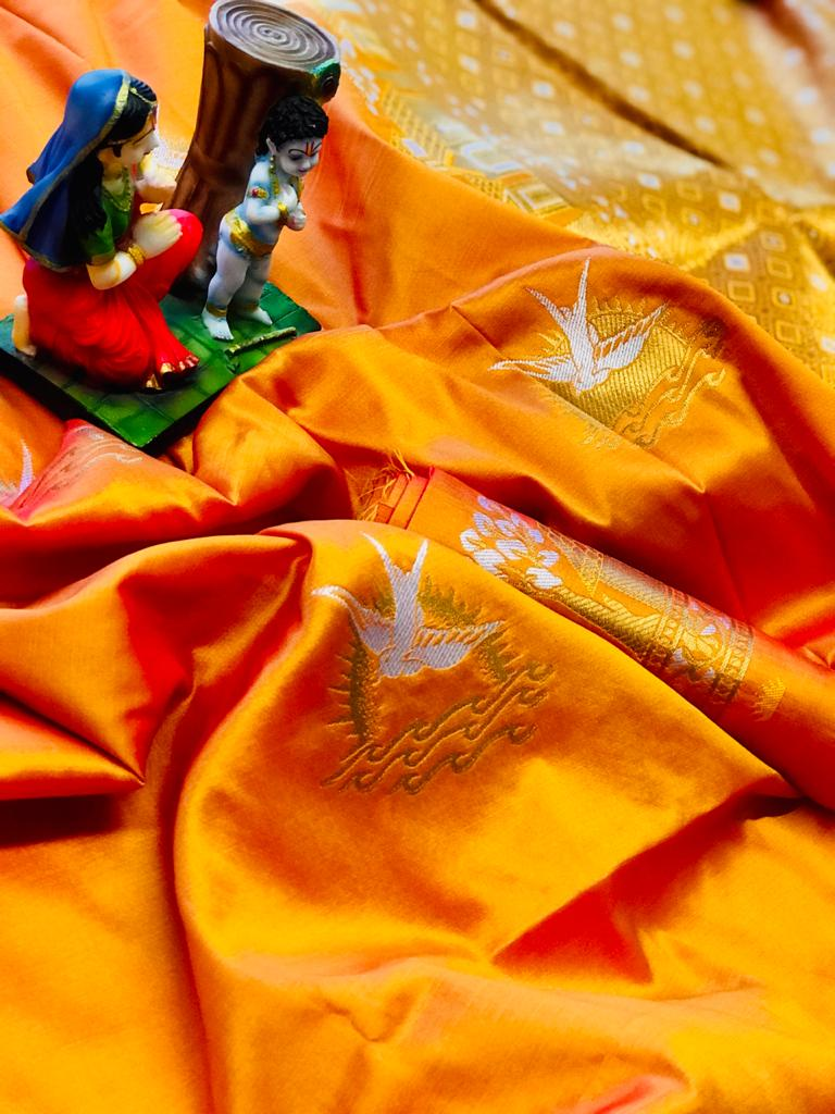 Orange lichi silk saree with blouse piece dvz0002048