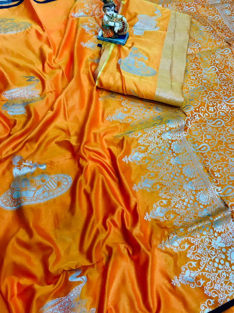 Orange lichi silk with full body weaving jari & new extra ordinary design dvz0001710