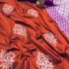 Orange lichi silk zari weaving work saree Design dvz0001687