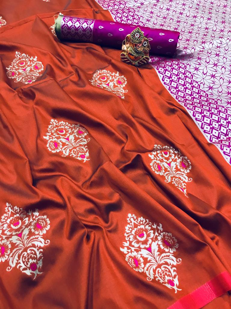 Orange lichi silk zari weaving work saree Design dvz0001687