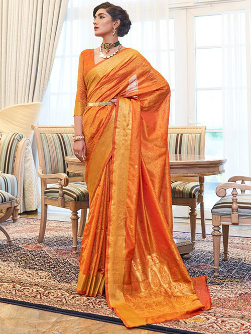 Orange pure Kanjivaram sarees Online india dvz0001397 - silk saree blouse shopping online