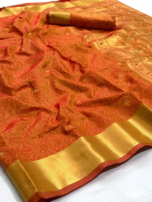 Orange pure Kanjivaram sarees Online india dvz0001397