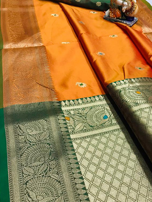 Orange soft silk with attractive gold jari work saree dvz0001821