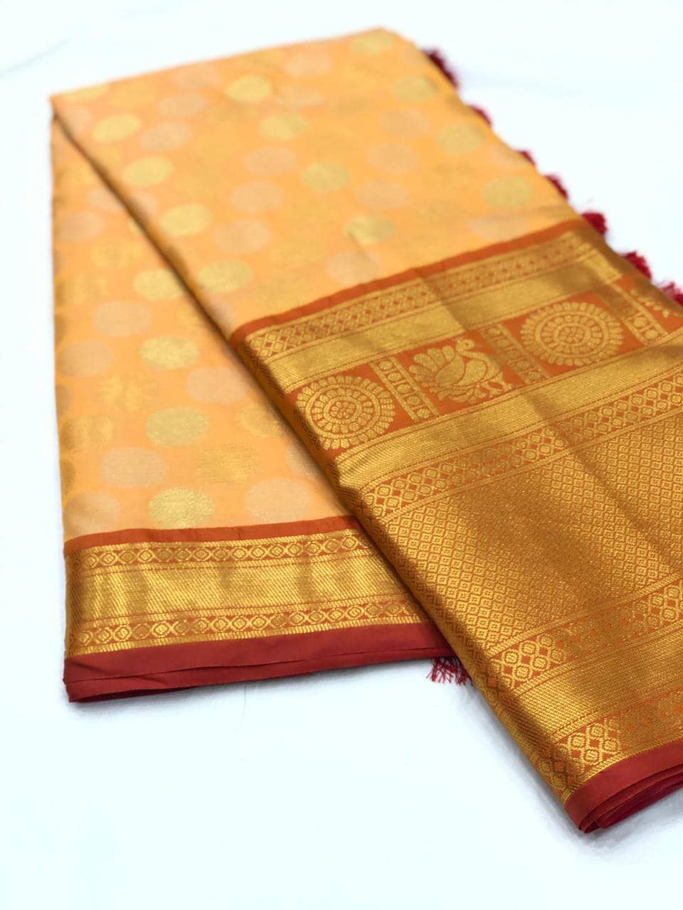 Peach Designer Kanchipuram Silk Saree online india dvz0001731