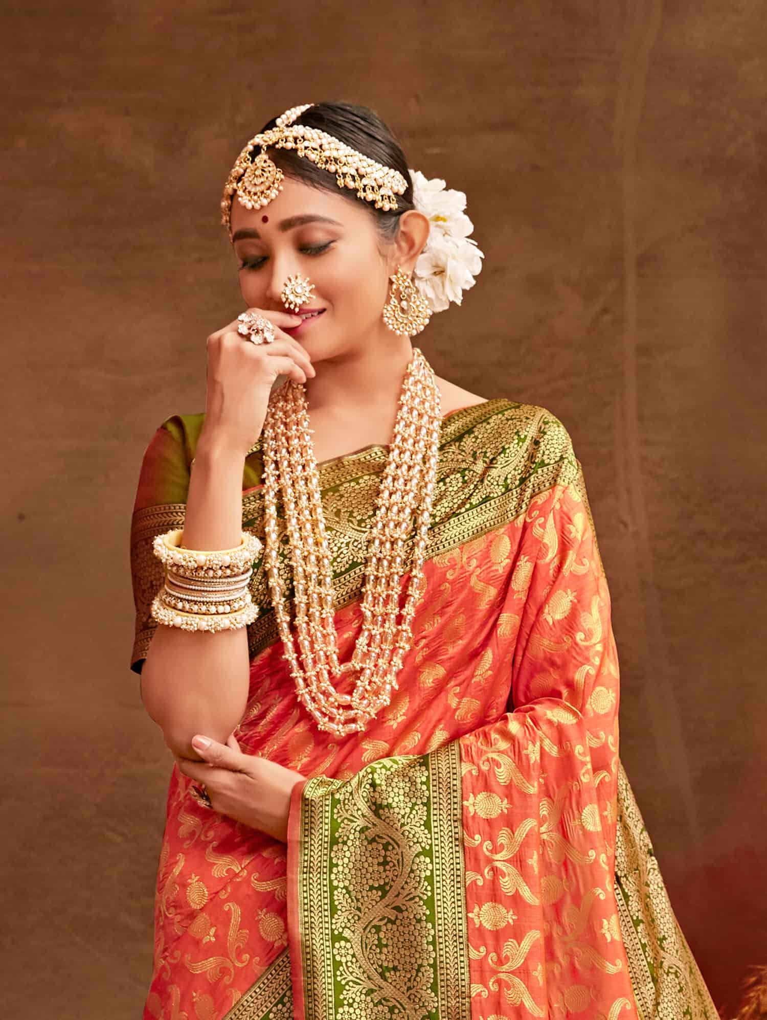 Peach Fancy soft silk Traditional saree dvz0002509-2
